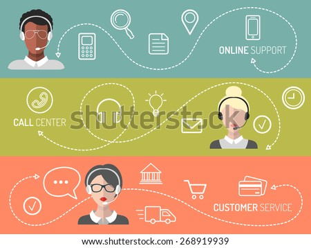 Vector set of call center, customer service, online support banners in trendy flat style - stock vector