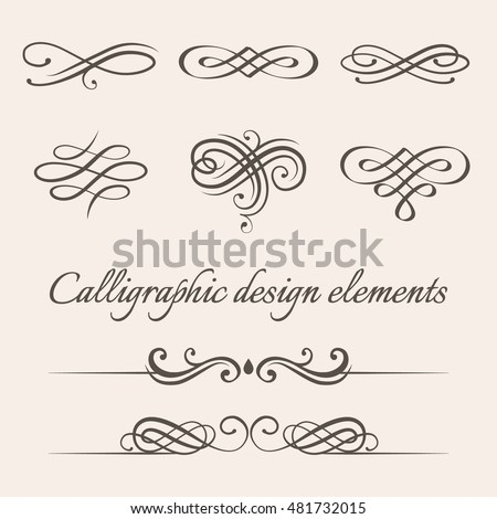 Vector set of calligraphic and page decoration design elements. Elegant collection of hand drawn swirls and curles for your design.