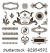 Vector set of calligraphic design elements, borders and frames. - stock vector