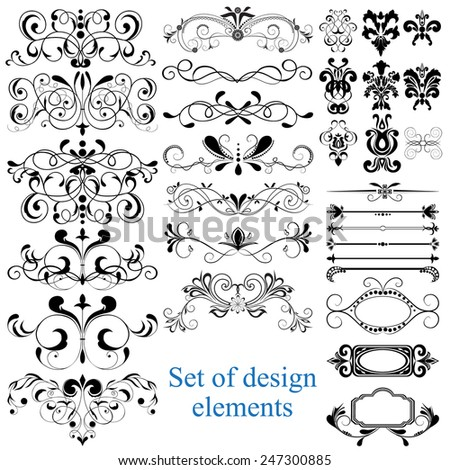 Vector set of calligraphic design elements: can be used for website background and greeting cards or cover decoration