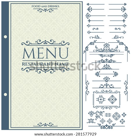 Vector set of calligraphic design elements for Restaurant Menu and Design Template. Vector illustration - stock vector