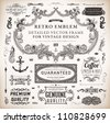 Vector set of calligraphic design elements: page decoration, Premium Quality and Satisfaction Guarantee Label, antique and baroque frames and floral ornaments collection - stock vector