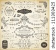 Vector set of calligraphic design elements: page decoration, Premium Quality and Satisfaction Guarantee Label, antique and baroque frames and ornaments | Old paper texture. - stock photo