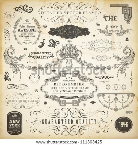 Vector set of calligraphic design elements: page decoration, Premium Quality and Satisfaction Guarantee Label, antique and baroque frames and ornaments | Old paper texture. - stock vector