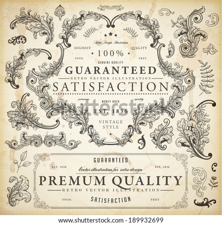 Vector set of calligraphic design elements: page decoration, Premium Quality and Satisfaction Guarantee Label, antique and baroque frames and floral ornaments | Old paper texture. - stock vector