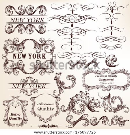 Vector set of calligraphic elements for design - stock vector