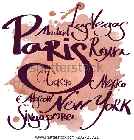 Vector set of calligraphic elements for design.  Handwritten city name, Isolated on watercolor background - stock vector