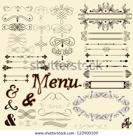 Vector set of calligraphic elements for your design. Calligraphic vector