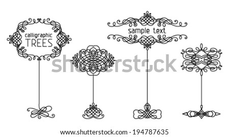 Vector set of calligraphic trees.