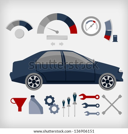 Vector set of car service. - stock vector