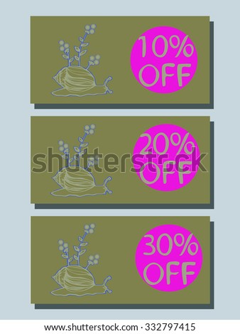 Vector set of cards at a discount with a snail for your design - stock vector