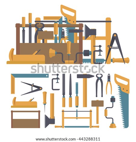 Vector set of carpenter tools and instruments in flat style. Design elements and icons isolated on white background. Home construction repair tools. - stock vector