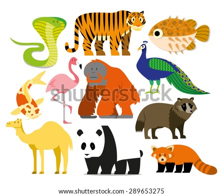 Vector Set Of Cartoon Asian Animals Isolated - stock vector
