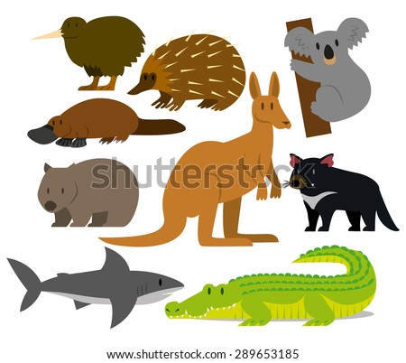 Vector Set Of Cartoon Australian Animals Isolated - stock vector