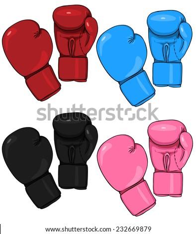 Vector Set of Cartoon Boxing Gloves - stock vector