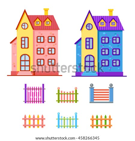 Vector set of cartoon bright blue and pink houses and a collection of multicilored fences. Cute building. Child town illustration. Your sweet home. House elements. - stock vector