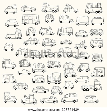 Vector set of cartoon cars isolated on white. - stock vector