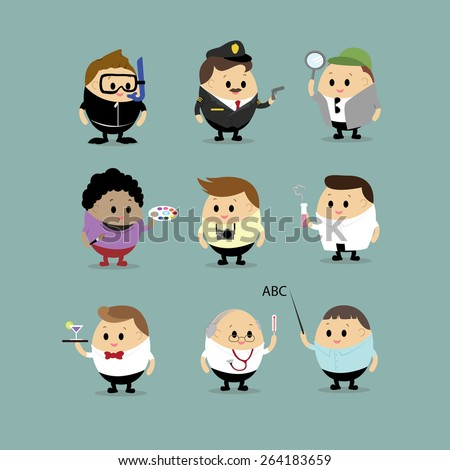 Vector set of Cartoon characters with different professions(Scuba diving,Police officer, Detective,Artist,Cameraman,Photographer,Doctor,Waiter,Scientist and Teacher astronaut,singer,Football player ) - stock vector