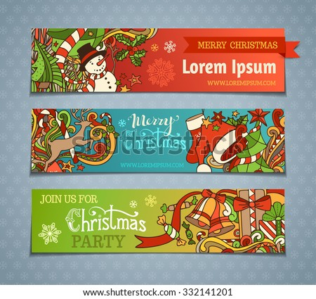 Vector set of cartoon Christmas banners. Colorful Christmas tree and baubles, Santa sock and hat, holly berries, gifts, candy canes, snowman, snowflakes, swirls, deer, sweets, bells and ribbons.  - stock vector