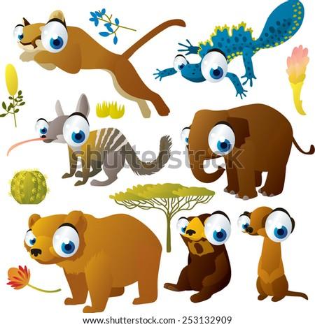 vector set of cartoon comic funny animals: puma, newt, elephant, numbat, grizzly, sunbear, meerkat - stock vector