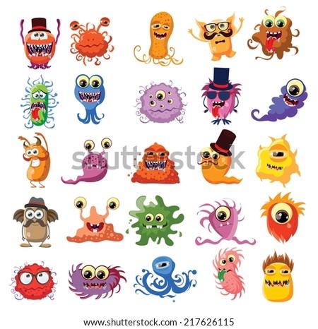 Vector set of cartoon cute monsters  - stock vector
