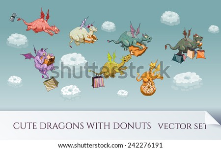 Vector set of cartoon dragons with donuts - stock vector