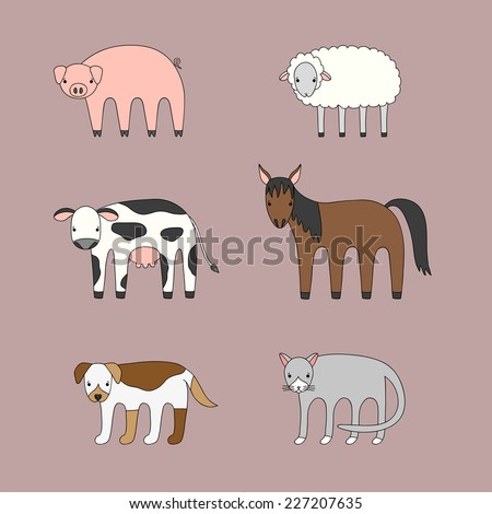 Vector set of cartoon farm animals - pig, sheep, cow, horse, dog and cat - stock vector