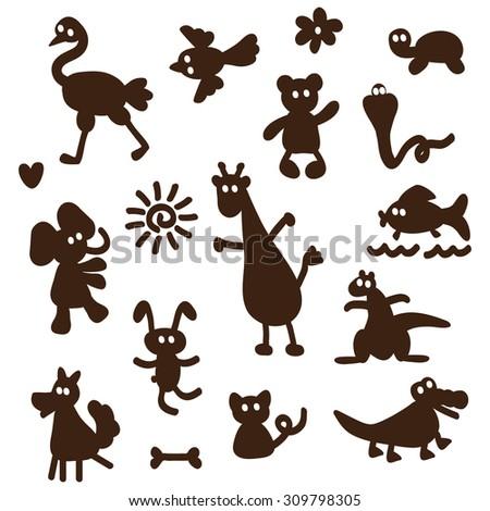 Vector Set of cartoon funny animals silhouettes - stock vector