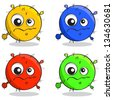 vector set of cartoon germs in different colors - stock photo