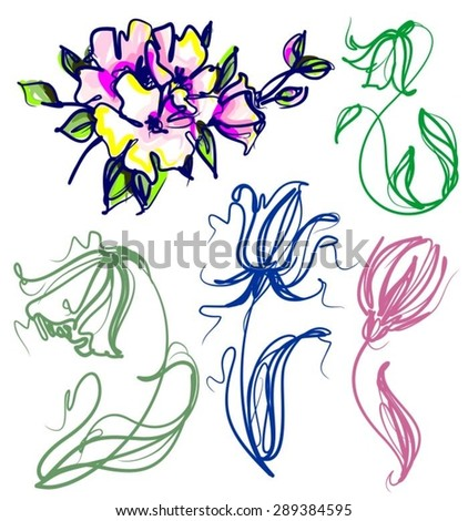 vector set of cartoon graphics with floral patterns with flower  for design. Floral flower natural design. Graphics, sketch drawing. - stock vector