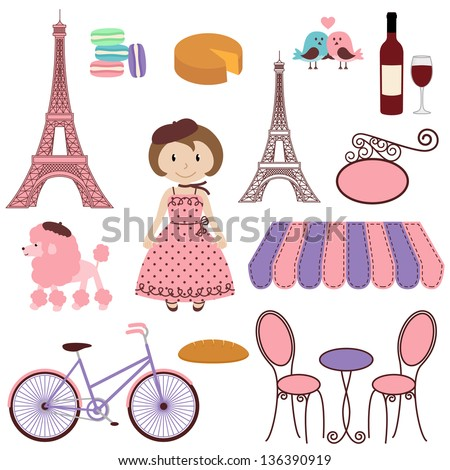 Vector Set of Cartoon Paris Themed Images - stock vector