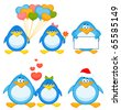 Vector set of cartoon penguins are isolated - stock vector