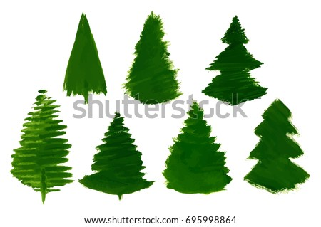 Vector Set Of 7 Cartoon Pine Trees Painted Isolated On White Background Childrens Drawing