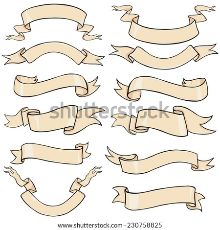 Vector Set of Cartoon Ribbons for Your Text - stock vector