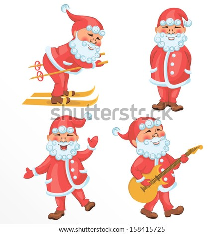 Vector set of cartoon Santa Claus in different actions. Contains gradient fill, eps 8 format