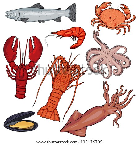 Vector Set of Cartoon Sea Food - stock vector