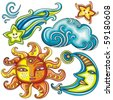 Vector set of Celestial symbols: sun, moon, star, comet, with human faces, and cute cloud. - stock vector