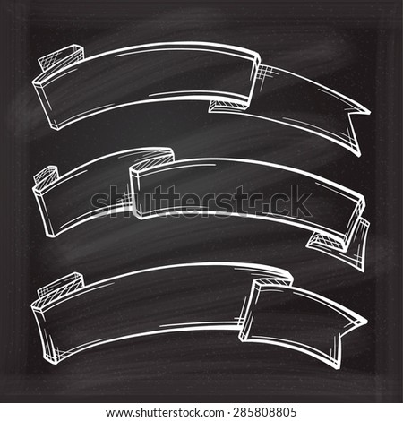 Vector set of chalk doodle scrolls and ribbons on the chalkboard background - stock vector