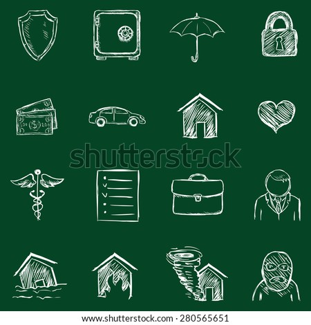 Vector Set of Chalk Insurance Icons - stock vector