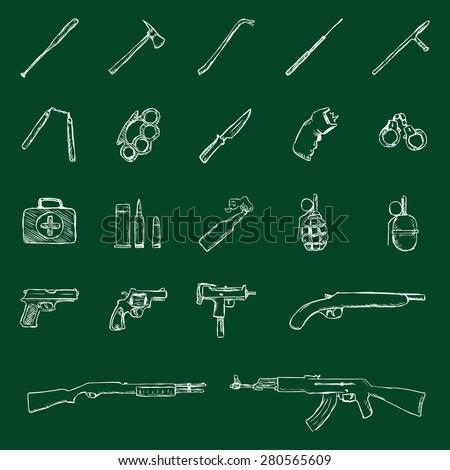 Vector Set of Chalk Weapon Icons.Bbaseball Bat, Crowbar, Telescopic Baton, Nunchaku, BrassKnuckles,Knife, stun gun, Handcuffs, First Aid Kkit,  Grenade, Pistol, Revolver, Ingram, Shotgun, AK-47. - stock vector