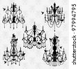 Vector Set of Chandelier Vectors with Birds - stock photo
