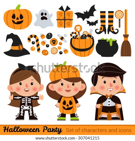 Vector set of characters and icons for Halloween in cartoon style. Pumpkin, ghost, candy, witches cauldron and other traditional elements of Halloween. Children in costumes for Halloween. - stock vector