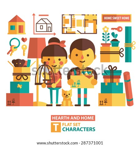 Vector set of characters and icons in a flat style. Moving, changing apartments, buying an apartment, the couple moves into a new apartment. - stock vector