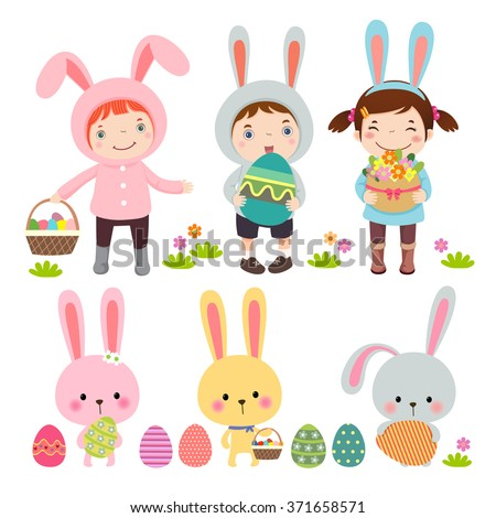 Vector set of characters and icons on the Easter theme in cartoon style - stock vector