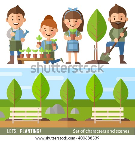 Vector set of characters and scenes on environmental issues. Boys and girls  planted and watered trees, grow flowers. - stock vector