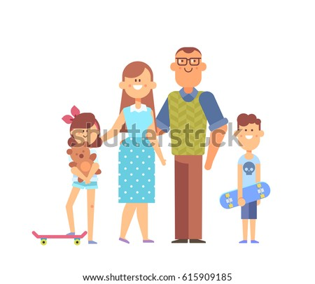 Vector set of characters in a flat style good for animation. Happy family together - mom, dad, kids.Girl with skateboard is holding teddy bear. Family portrait isolated on white background.