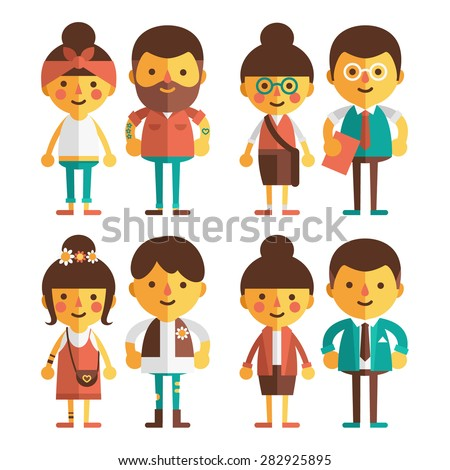 Vector set of characters in a flat style. Loving couple of stylish young people. Girls and boys in different costumes - hipsters, students, hippies, sportsmen. - stock vector