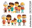 Vector set of characters in a flat style. The family - grandfather, grandmother, mom, dad, kids. Two happy families in a flat style. - stock vector