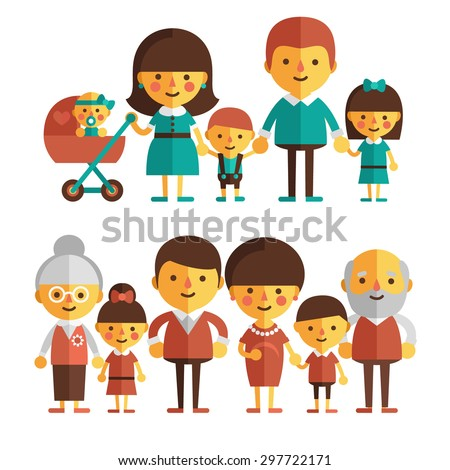 Vector set of characters in a flat style. The family - mom, dad, grandmother, grandfather and children. Happy family. - stock vector