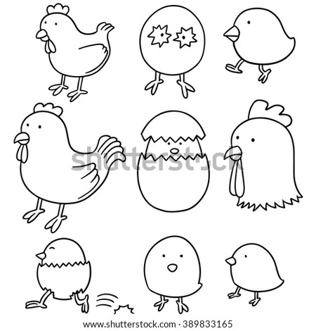 vector set of chicken and egg - stock vector